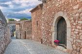 Vecchio acciottolato street, collbató, spagna — Foto Stock