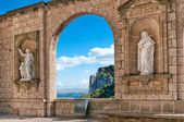 Sculptures at Montserrat Abbey, Tarragona Province, Spain — Stock Photo