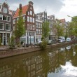 Amsterdam canals and typical houses with water reflections — Stock Photo #8848943