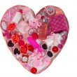 Royalty-Free Stock Photo: Pink heart made from different accessories and body care cosmetics objects