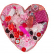 Pink heart made from different accessories and body care cosmetics objects — Stock Photo