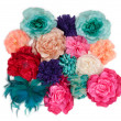 A lot of artificial flowers (ladies barrettes with flowers) — Stock Photo