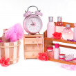 Bath pink set (a lot of dofferen items for body care) isolated on white — Stock Photo