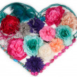 Flower heart made of ladies accessories (barrettes and beads) — Stock Photo
