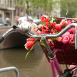 A basket of fresh bouquet of red tulips on a bike - Stock Photo