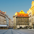 Stock Photo: Street cafes on Old Town Square, sunrise, Prague, Czech Republic
