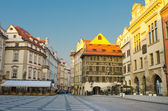 Street cafes on Old Town Square, sunrise, Prague, Czech Republic — Stock Photo