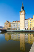 Smetana Museum, Old Town Water Tower, view from Vltava river, Prague — Stock Photo