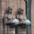 Details of central railway station, Helsinki - Stock Photo