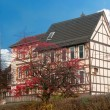 Stock Photo: Half timbered house near old castle wall