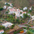 Winding road leading to small town, Tenerife island, Spain — Stock Photo