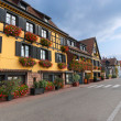 Stock Photo: Typical Street with half-timbered houses, Alsace