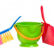 Stock Photo: Group of tools for cleaning (dustpan, bucket and brush) isolated on white b