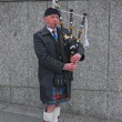 Scottish Bagpiper in plaid and kilt with the Bagpipe, Princess Street, Edin — Stock Photo