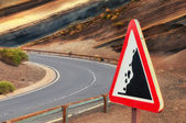 "Road sign ""falling stones"", Tenerife, Canary, Spain — Stock Photo"