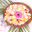 Stock Photo: Wooden bowl with petals