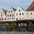 Street cafe at the central square, Weiden, Germany - Stock Photo