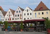 Street cafe at the central square, Weiden, Germany — Stock Photo