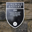 Edinburgh Castle, Forewall Batterry Sign — Stock Photo
