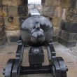 Cannon hidden in the wall - Edinburgh Castle, Scotland - Stock Photo