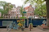 Typical Amsterdam's canal with house boat — Foto de Stock