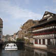 River with Traditional Half-Timbered Houses at the both banks, France — Stock Photo