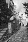 Famous Hohenschwangau Castle, black-and-white, Germany — Stock Photo