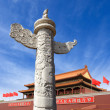 Ornamental column erected in front of the palace — Stock Photo