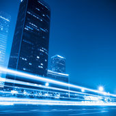 Modern cityscape at night in beijing — Stock Photo