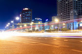 Streets with heavy traffic at night — Stock Photo