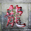 Dragon word carved stone of chinese calligraphy — Stock Photo
