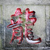 Palavra dragão esculpida pedra de caligrafia chinesa — Fotografia Stock
