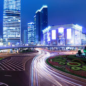 Night of modern city in shanghai — Stock Photo