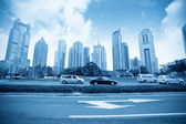 Lujiazui financial district with century avenue — Stock Photo