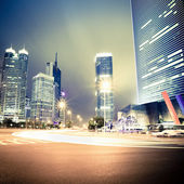 Night view of the century avenue in shanghai — Stock Photo