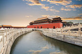 The forbidden city with gold water bridge — Stock Photo