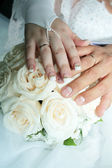 Hand and wedding rings — Stock Photo