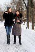 Two female friends walking in park — Stock Photo