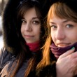 Two female friends walking in park in winter - Stockfoto