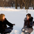 Two female friends walking in park in winter -  