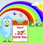 Earth Day. Blue Bird. — Stock Vector