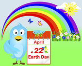 Earth Day. Blue Bird. — Vector de stock