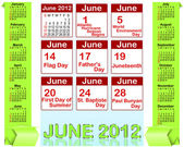 Holiday icons calendars for june 2012. — Cтоковый вектор