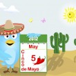 Cinco de Mayo. Blue Bird with a calendar. — Stock Vector