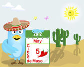 Cinco de Mayo. Blue Bird with a calendar. — Vector de stock
