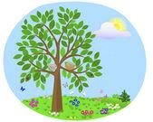 Tree with birds. Summer. — Stock Vector