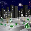 Winter city with a fireworks. - Stock Vector
