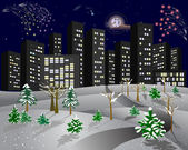 Winter city with a fireworks. — Vector de stock