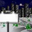 Stock Vector: Winter city with billboard.
