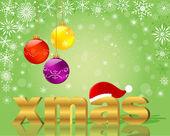 Weihnachtskarten mit goldenem wort xmas. — Stockvektor